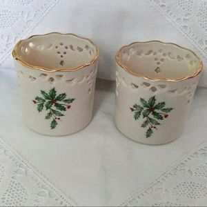 Lenox Accents - Lenox Lot Candle Holders Bowl Tulip Holly USA
